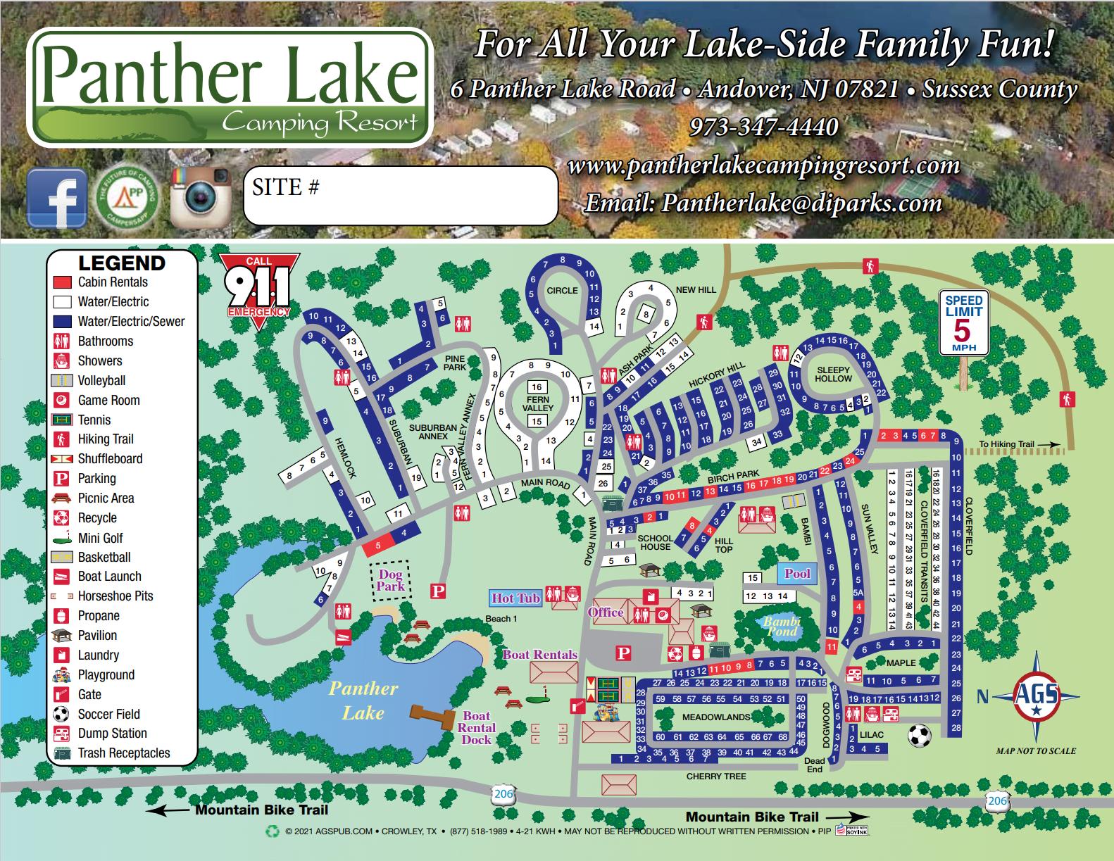 2021 Panther Lake Resort Map